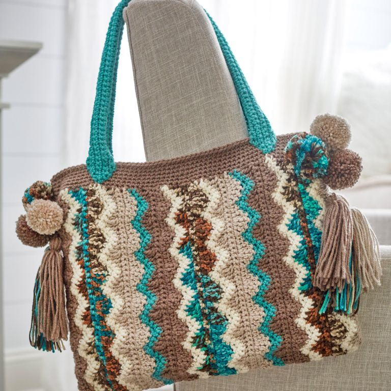 Beautiful Crochet Bag With Flame Stitches - Free Pattern