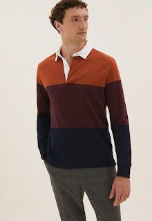 Marks & Spencer - Мъжка Блуза с яка и цветен блок