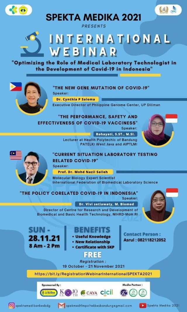 """[INTERNATIONAL SEMINAR] """"Optimizing the Role of Medical Laboratory Technologist in the Development of COVID-19"""""""