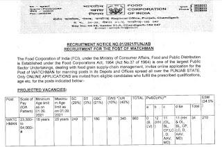 FCI Punjab Recruitment 2021 860 Watchman Posts