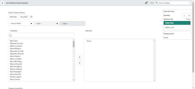 SlushBucket in Catalog Item Form