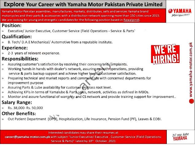 Yamaha Motors Pakistan Limited Latest  Jobs For a Executive/ Junior Executive Customer Service