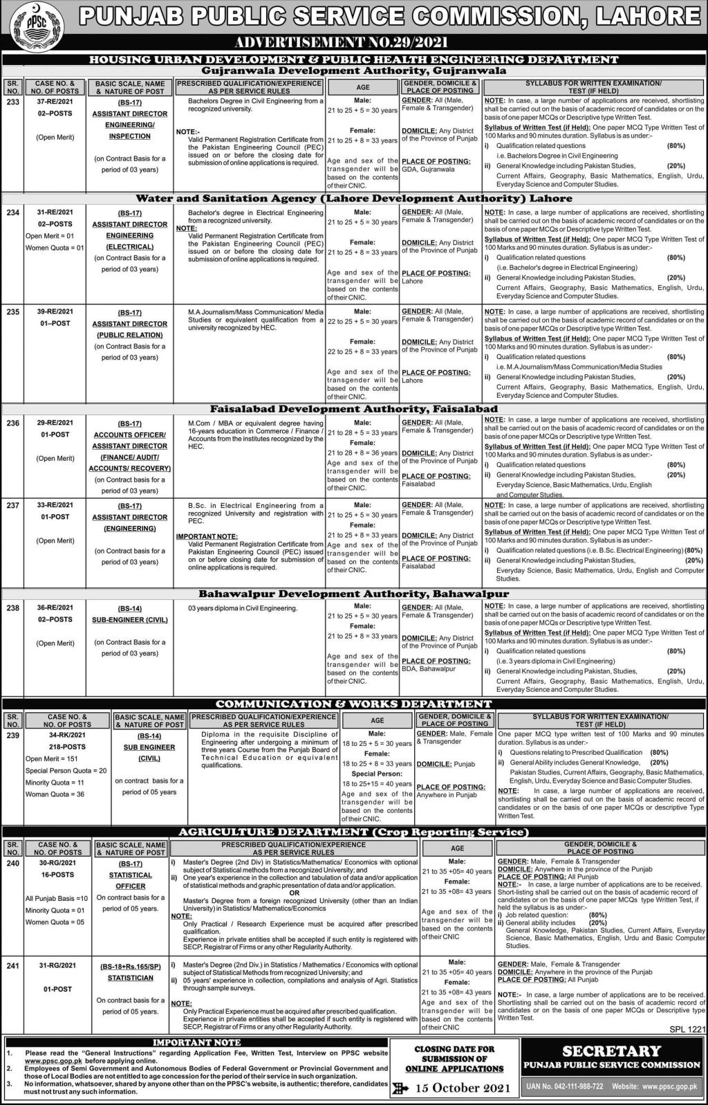 PPSC Jobs 2021 - Latest Advertisement No 29/2021 - Apply Now