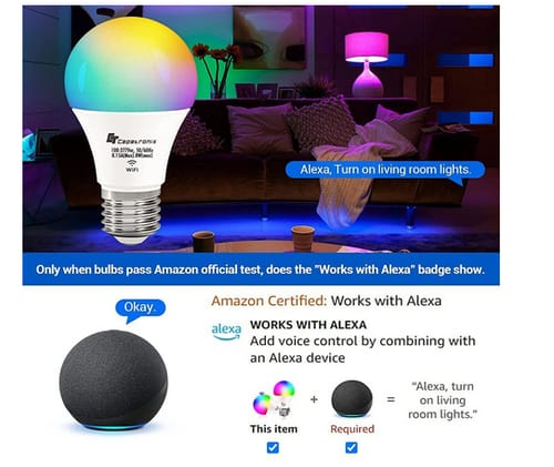 CT CAPETRONIX WiFi Color Changing Smart Light Bulb