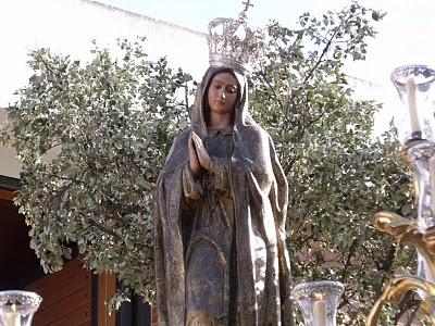 Horario e Itinerario Traslado de la Virgen de Fátima a Santo Domingo en Rosario de la Aurora. Jerez de la Frontera (Cádiz) 16 de Octubre del 2021
