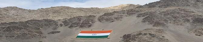 1,000-Kg Monumental Khadi Flag Displayed At Hindon Air Base On India Air Force Day