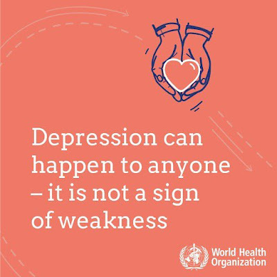 Depression can happen to anyone. It is not a sign of weakness  WHO. Image of a heart shape held in someone's hands