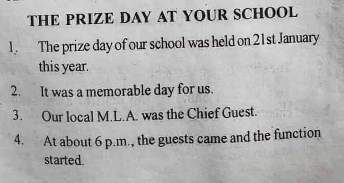 Prize day in school - 10 Lines Essay in English Language for Juniors