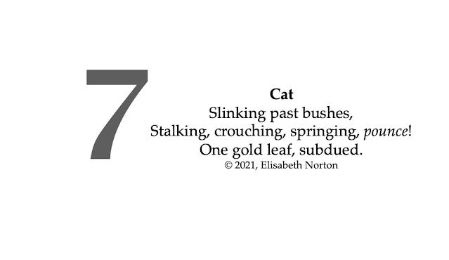 Poem 7: Cat Slinking past bushes, Stalking, crouching, springing, pounce! One gold leaf, subdued. © 2021, Elisabeth Norton