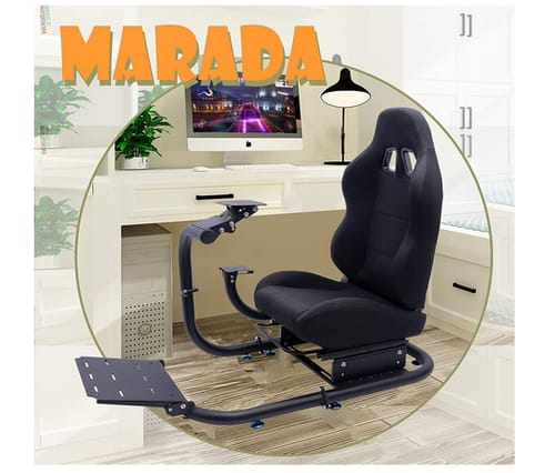 Marada Adjustable Racing Simulator Cockpit with Large Round Tube Stand
