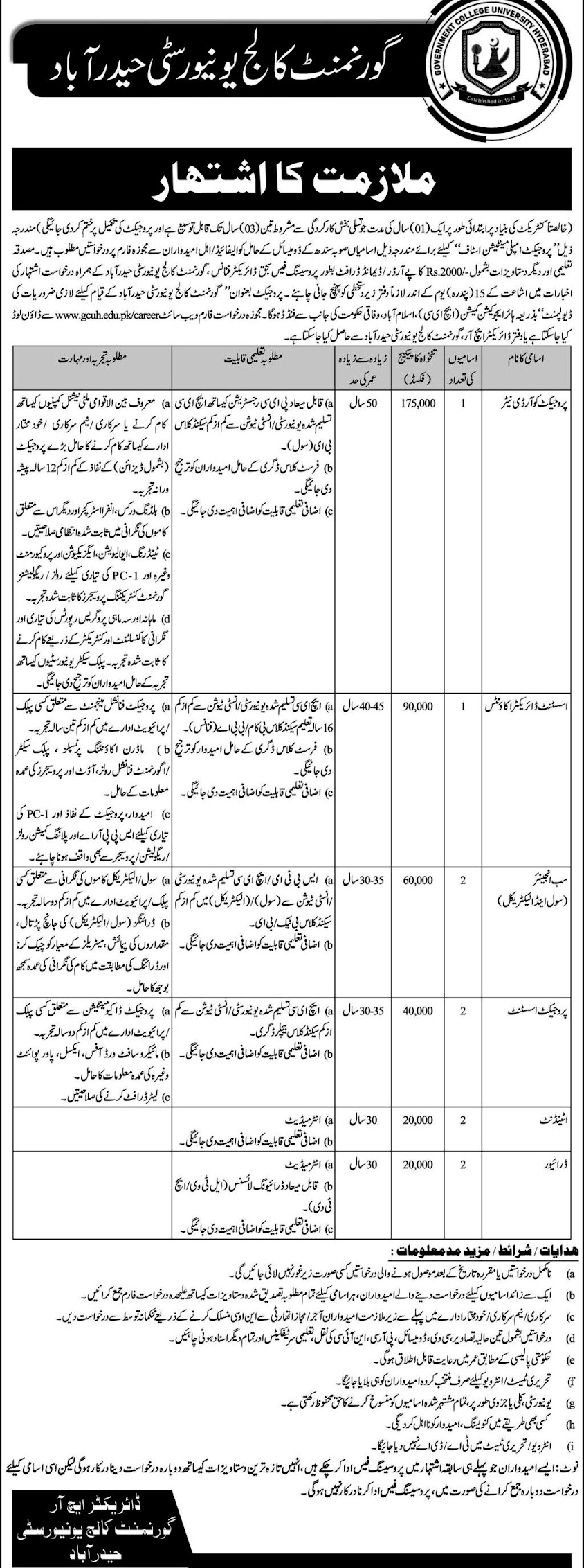 GC University Hyderabad Latest  Jobs 2021 –  Application Form Download