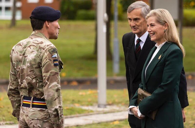 The Countess of Wessex wore a patch-pocket fitted jacket, suit by Victoria Beckham. The Royal Corps of Army Music