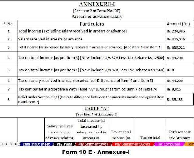 Income Tax Relief Form 10 E