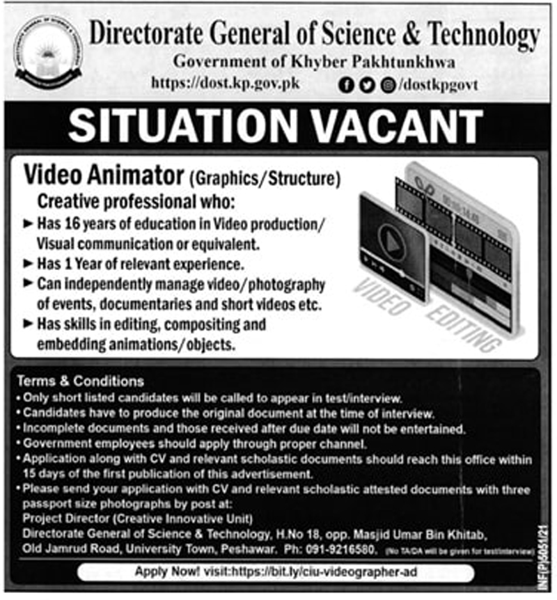 Directorate of Science & Technology KPK Jobs 2021