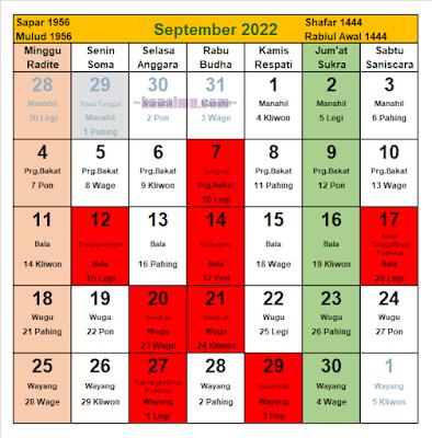 kalender jawa bulan september 2022 - kanalmu