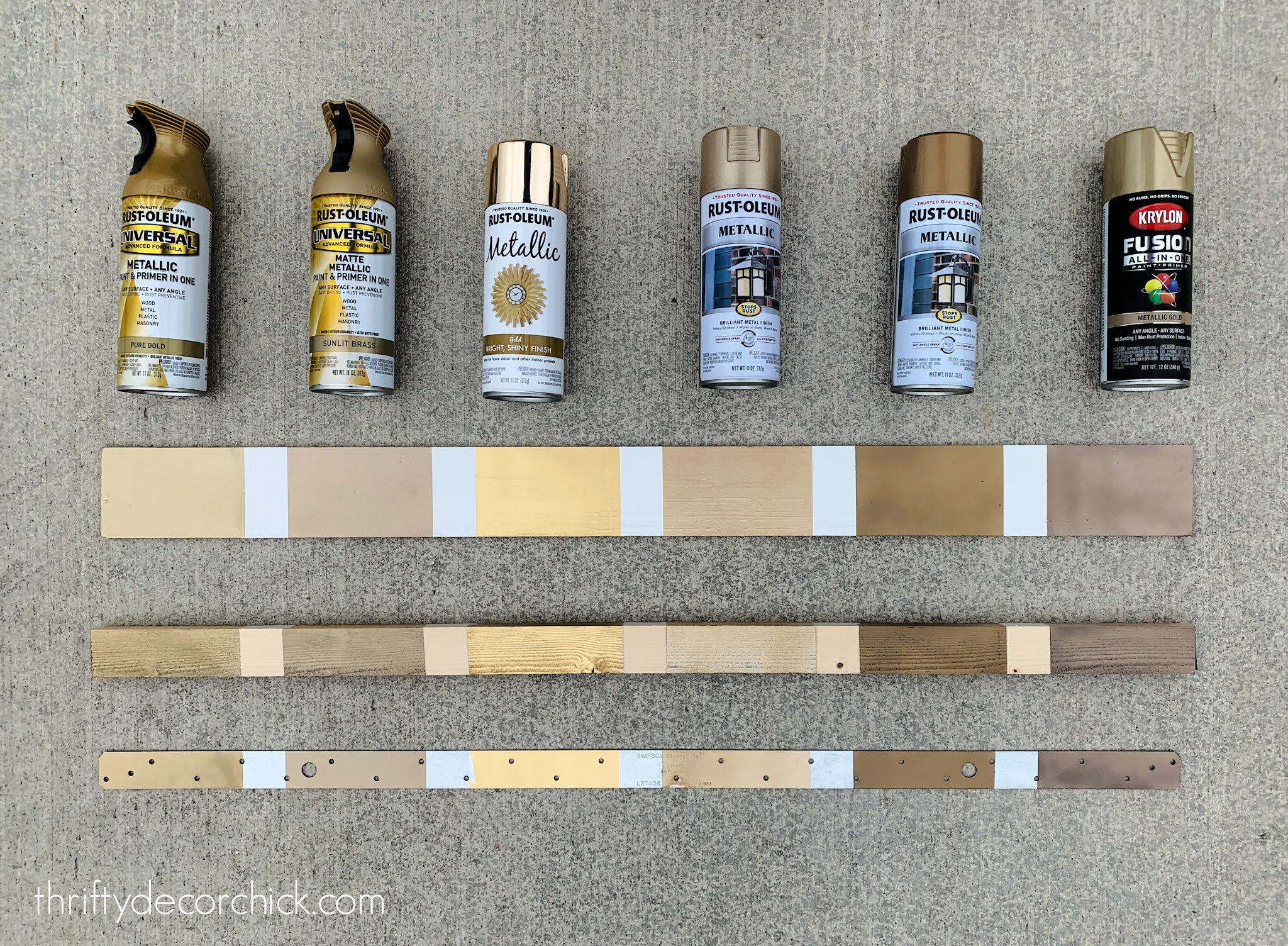 Comparing brass and gold spray paint colors