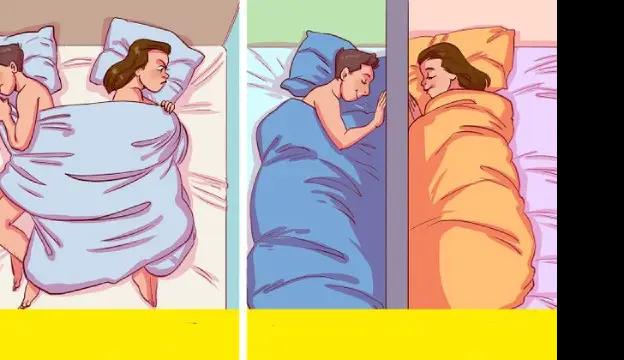 """وفقًا  لمسح ، ينام 14٪ فقط من الأزواج في أسرة منفصلة كل ليلة. وبينما قد يؤمن الكثير منا بمقولة """"الأزواج الذين ينامون منفصلين ينمون منفصلين"""" ، هناك دراسات تظهر أن العكس هو الصحيح في الواقع."""