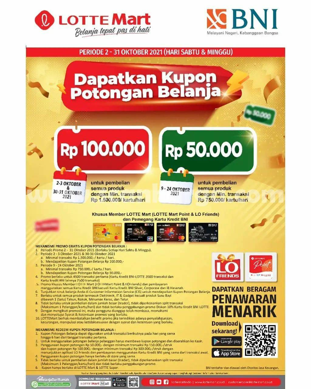 LOTTEMART Promo Kupon Potong Belanja Rp. 100.000 dengan Kartu Kredit BNI