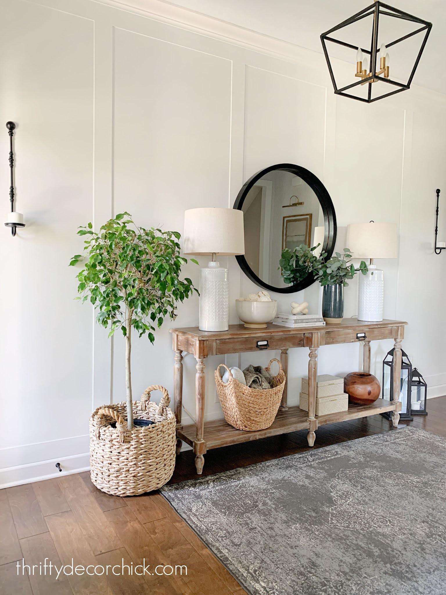 white foyer wood Everett table
