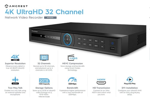 Amcrest 4K NV5232 Network Video Recorder