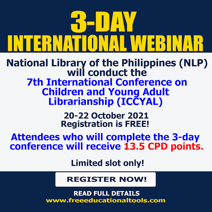 International 3-DAY Free Webinar with 13.5 CPD UNITS from National Library of the Philippines | October 20-22 | REGISTER NOW!