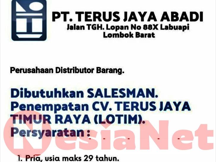 Lowongan Kerja CV Terus Jaya Timur Raya Lombok Timur NTB
